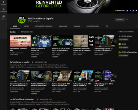 Canal NVIDIA GeForce España en YouTube