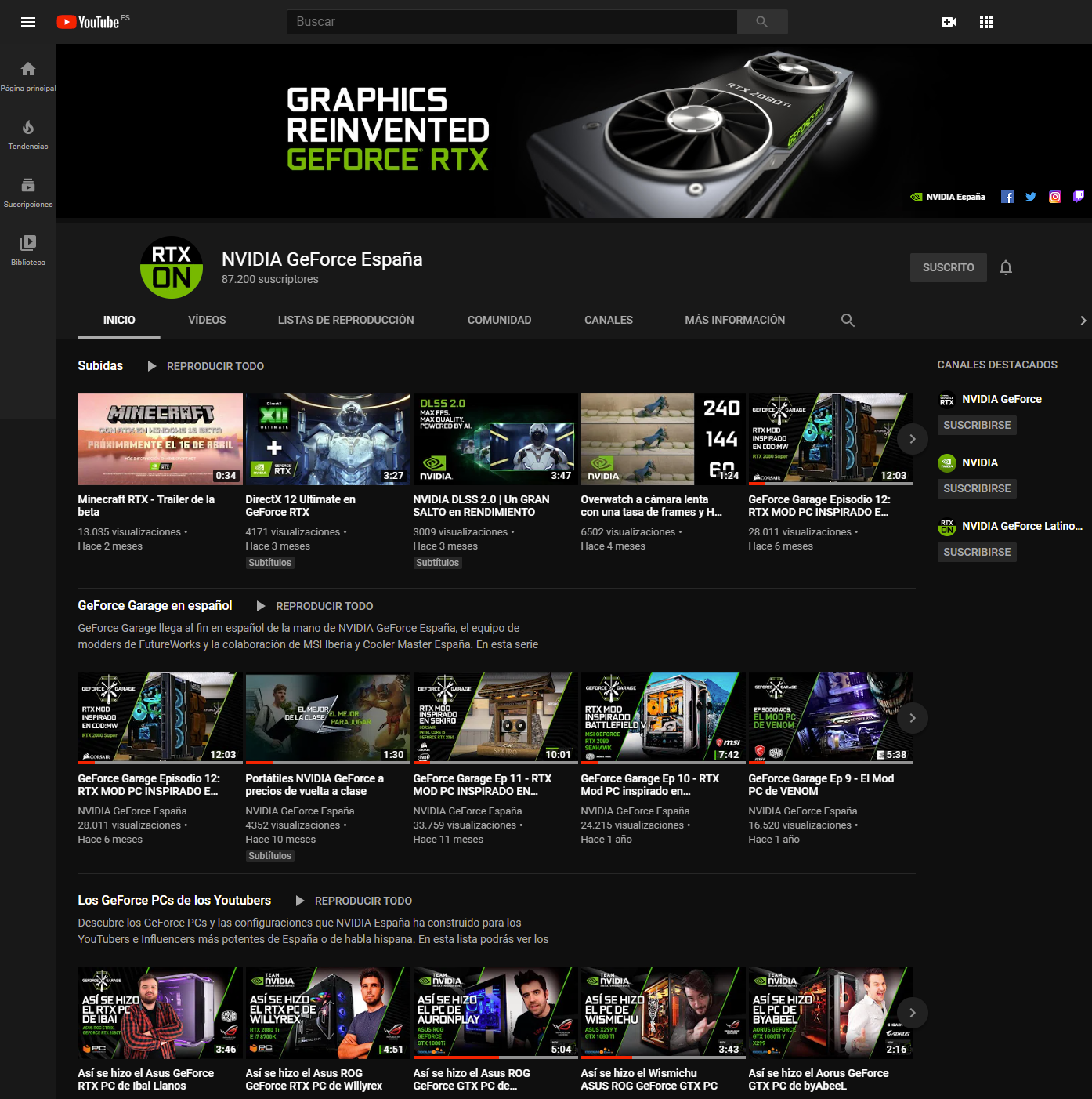 Canal NVIDIA GeForce España en YouTube